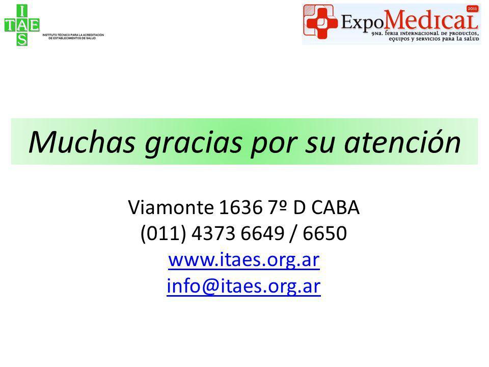 Muchas gracias por su atención Viamonte 1636 7º D CABA (011) 4373 6649 / 6650 www.itaes.org.ar info@itaes.org.ar
