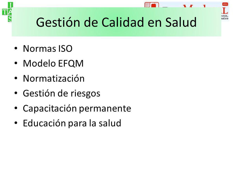 Evaluación de Calidad en Salud a)De las Estructuras – Habilitación – Matriculación – Categorización – Certificación – Recertificación de Especialidades b)De los Procesos – Certificación ISO 9000 – HACCP – Auditoría Médica – Premios a la Calidad
