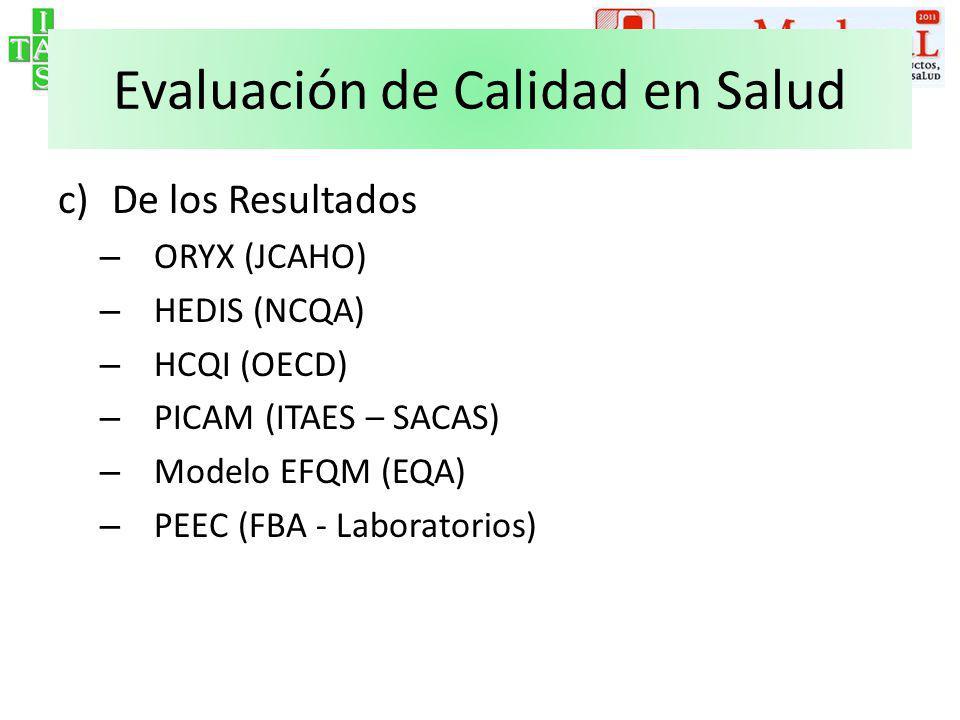 Evaluación de Calidad en Salud c)De los Resultados – ORYX (JCAHO) – HEDIS (NCQA) – HCQI (OECD) – PICAM (ITAES – SACAS) – Modelo EFQM (EQA) – PEEC (FBA - Laboratorios)