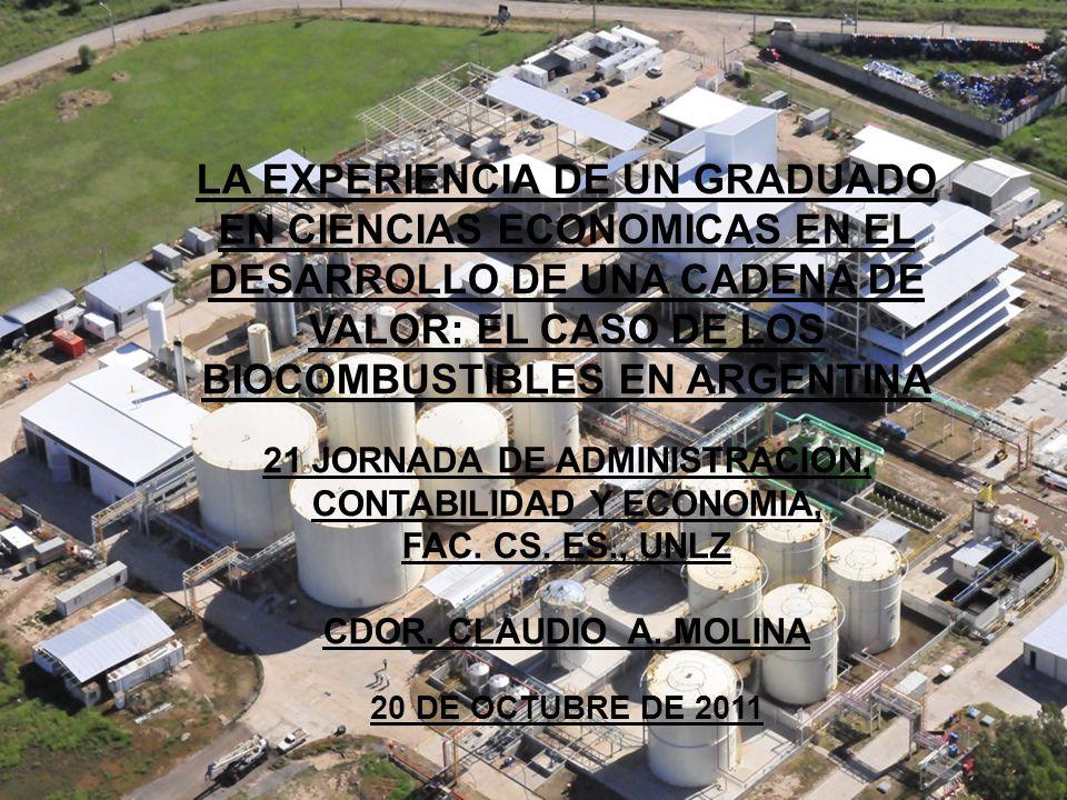 LA EXPERIENCIA DE UN GRADUADO EN CIENCIAS ECONOMICAS EN EL DESARROLLO DE UNA CADENA DE VALOR: EL CASO DE LOS BIOCOMBUSTIBLES EN ARGENTINA 21 JORNADA DE ADMINISTRACION, CONTABILIDAD Y ECONOMIA, FAC.