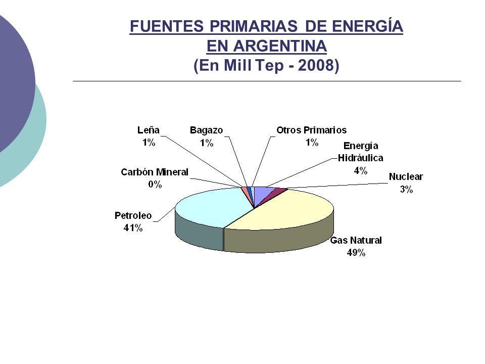 FUENTES PRIMARIAS DE ENERGÍA EN ARGENTINA (En Mill Tep - 2008)