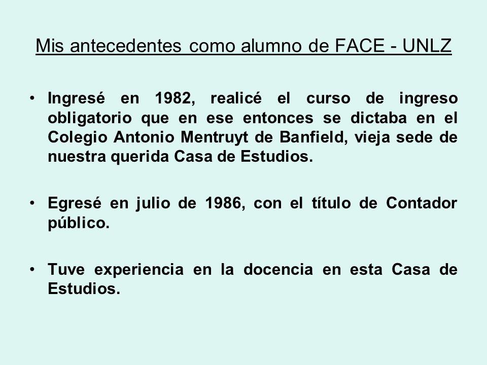 Mis antecedentes como alumno de FACE - UNLZ Ingresé en 1982, realicé el curso de ingreso obligatorio que en ese entonces se dictaba en el Colegio Antonio Mentruyt de Banfield, vieja sede de nuestra querida Casa de Estudios.