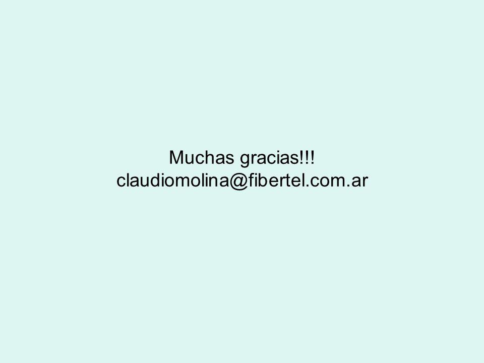 Muchas gracias!!! claudiomolina@fibertel.com.ar