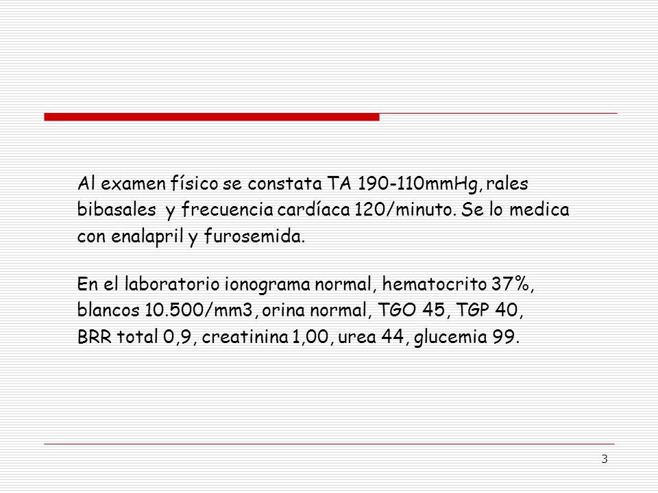 3 Al examen físico se constata TA 190-110mmHg, rales bibasales y frecuencia cardíaca 120/minuto.