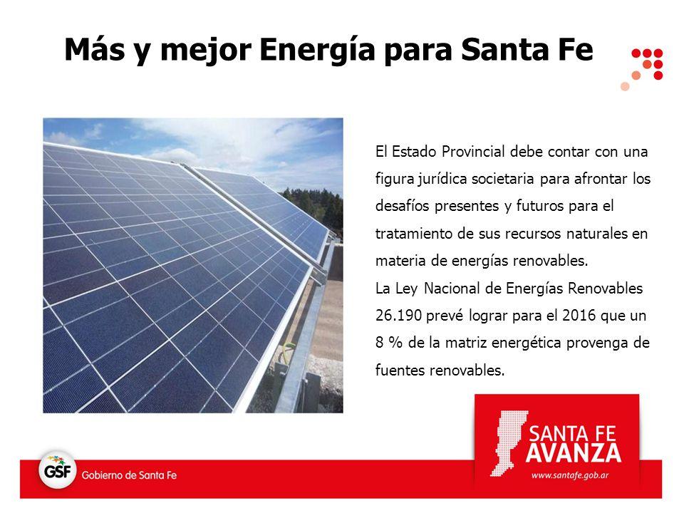 Más y mejor Energía para Santa Fe El Estado Provincial debe contar con una figura jurídica societaria para afrontar los desafíos presentes y futuros p
