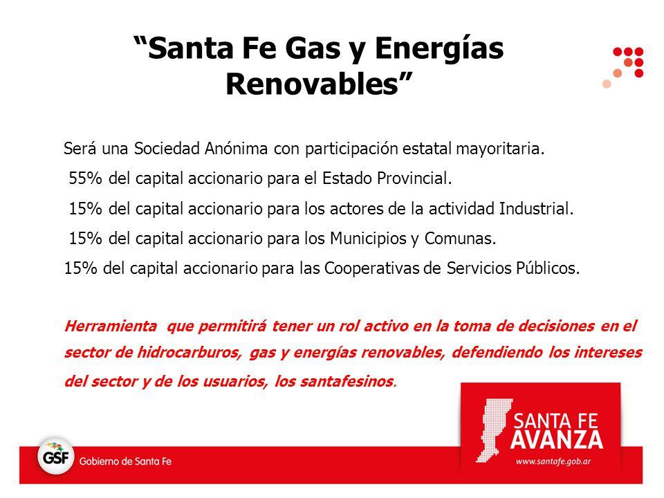 Santa Fe Gas y Energías Renovables Será una Sociedad Anónima con participación estatal mayoritaria. 55% del capital accionario para el Estado Provinci
