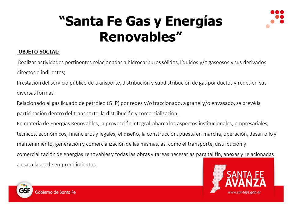 Santa Fe Gas y Energías Renovables OBJETO SOCIAL: Realizar actividades pertinentes relacionadas a hidrocarburos sólidos, líquidos y/o gaseosos y sus d