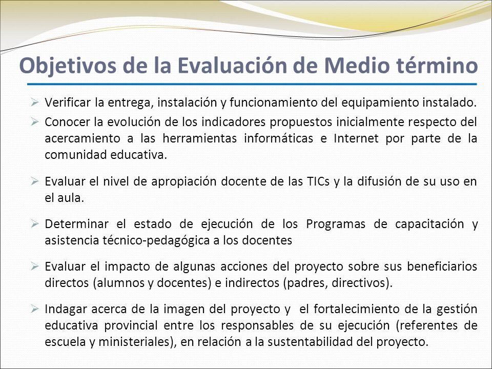 Objetivos de la Evaluación de Medio término Verificar la entrega, instalación y funcionamiento del equipamiento instalado.