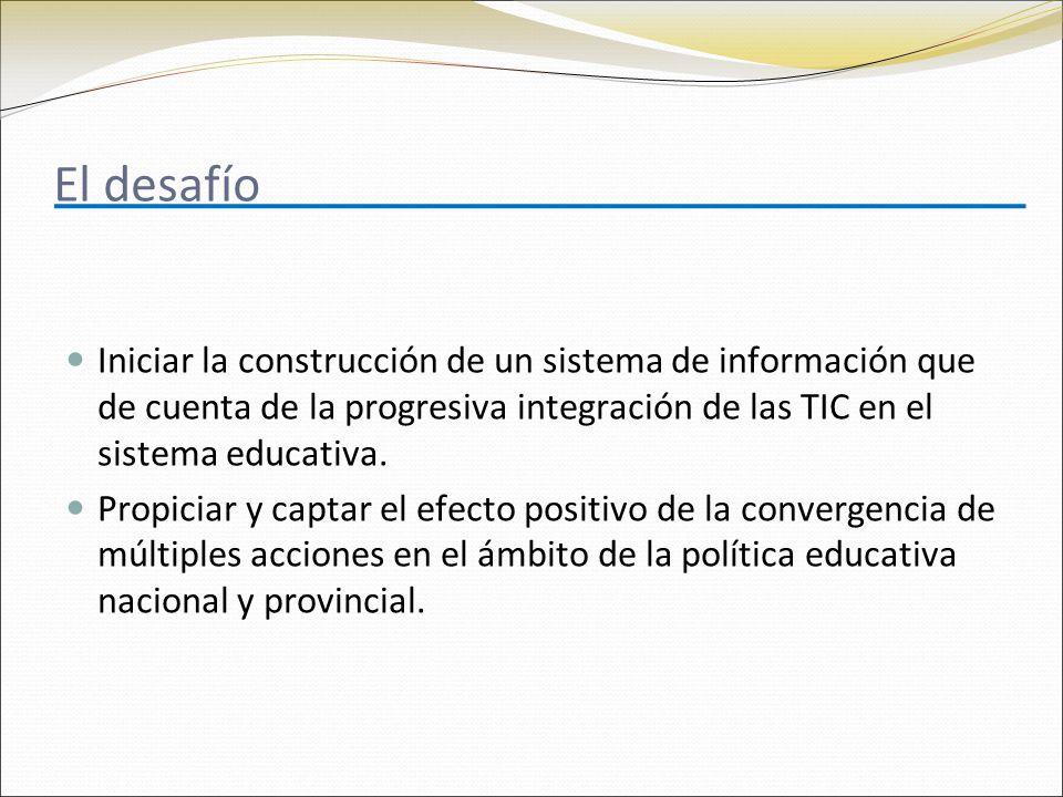 El desafío Iniciar la construcción de un sistema de información que de cuenta de la progresiva integración de las TIC en el sistema educativa.
