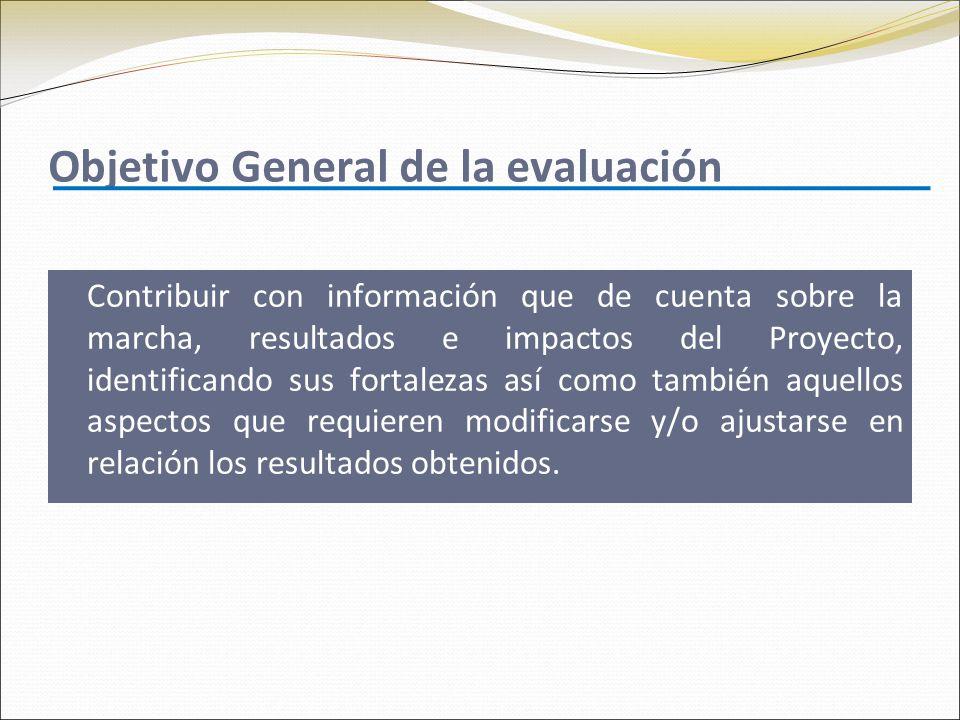 Objetivo General de la evaluación Contribuir con información que de cuenta sobre la marcha, resultados e impactos del Proyecto, identificando sus fort