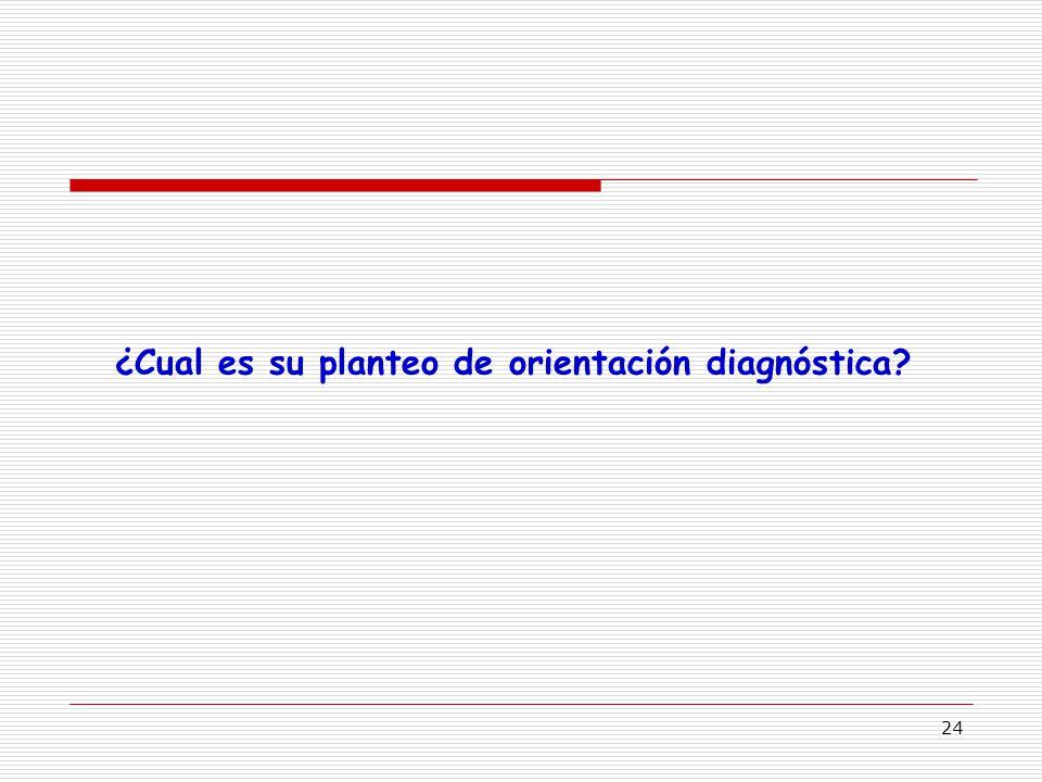 24 ¿Cual es su planteo de orientación diagnóstica?