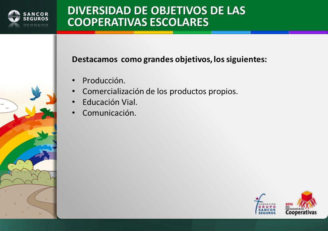 Destacamos como grandes objetivos, los siguientes: Producción. Comercialización de los productos propios. Educación Vial. Comunicación. DIVERSIDAD DE
