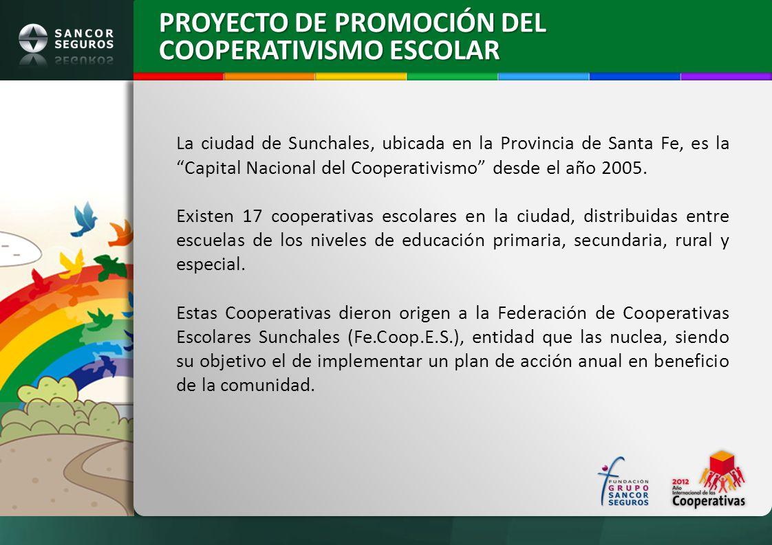 PROYECTO DE PROMOCIÓN DEL COOPERATIVISMO ESCOLAR La ciudad de Sunchales, ubicada en la Provincia de Santa Fe, es la Capital Nacional del Cooperativism