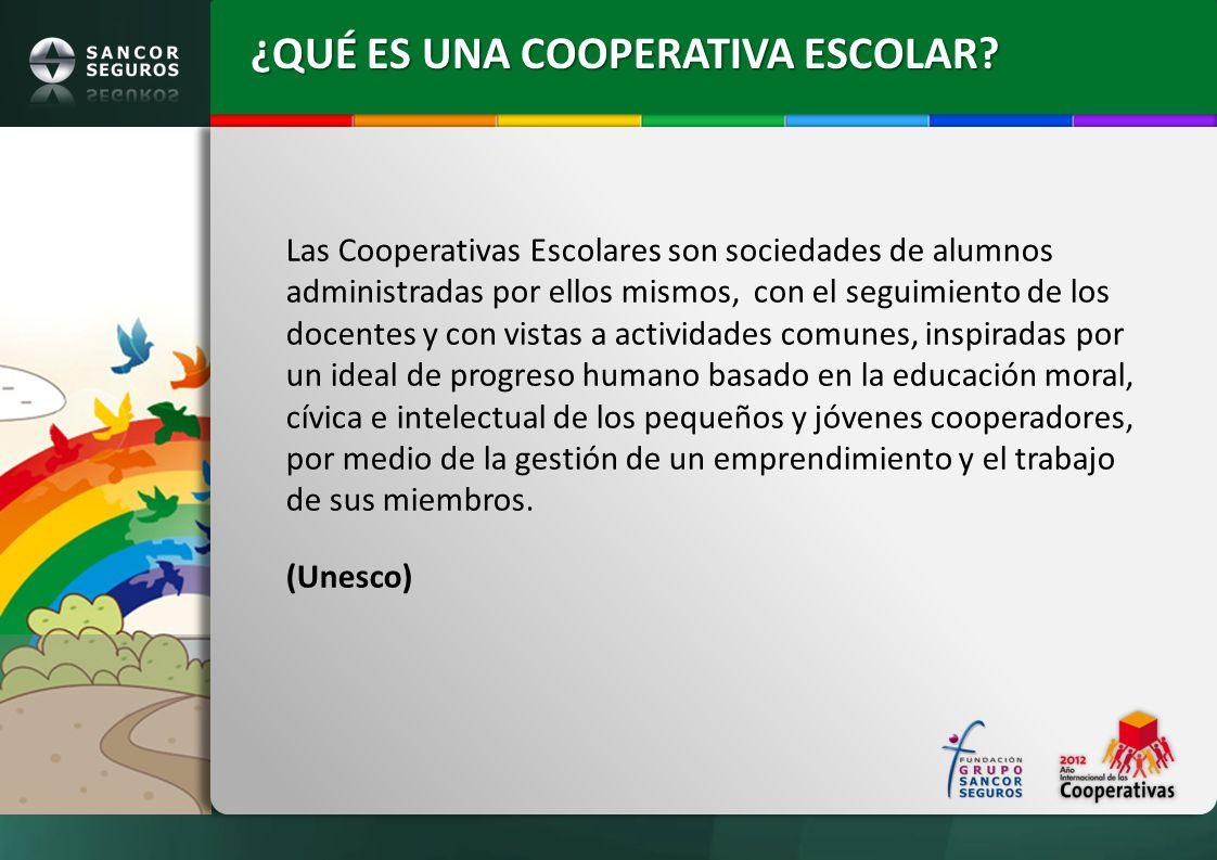 ¿QUÉ ES UNA COOPERATIVA ESCOLAR? Las Cooperativas Escolares son sociedades de alumnos administradas por ellos mismos, con el seguimiento de los docent