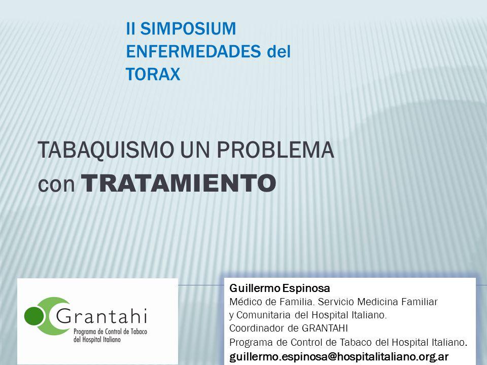TABAQUISMO UN PROBLEMA con TRATAMIENTO Guillermo Espinosa Médico de Familia. Servicio Medicina Familiar y Comunitaria del Hospital Italiano. Coordinad