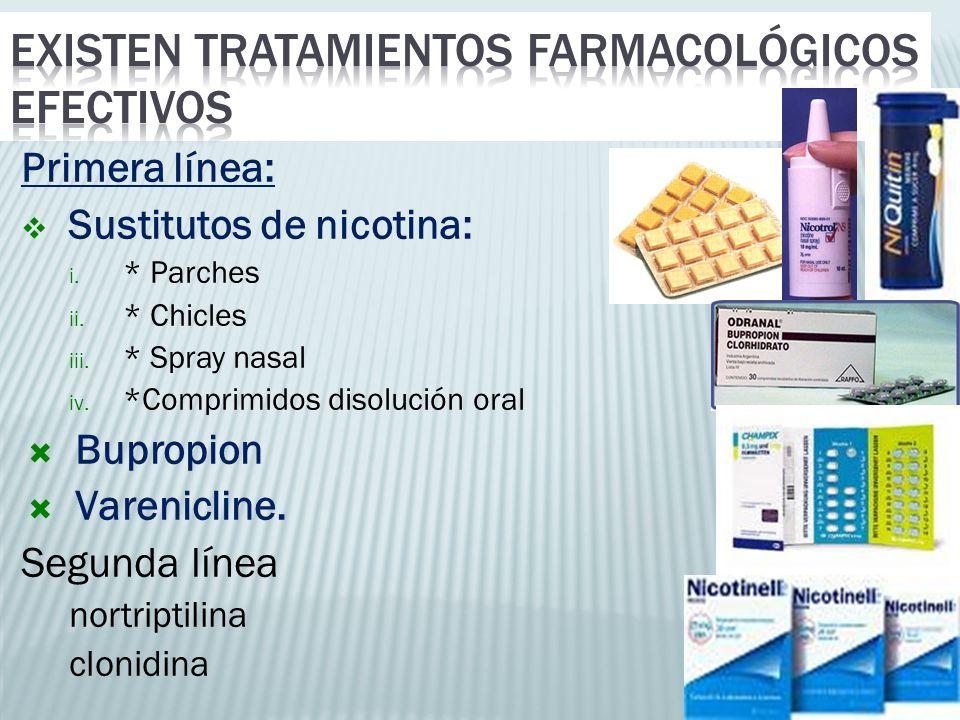 Primera línea: Sustitutos de nicotina: i. * Parches ii. * Chicles iii. * Spray nasal iv. *Comprimidos disolución oral Bupropion Varenicline. Segunda l