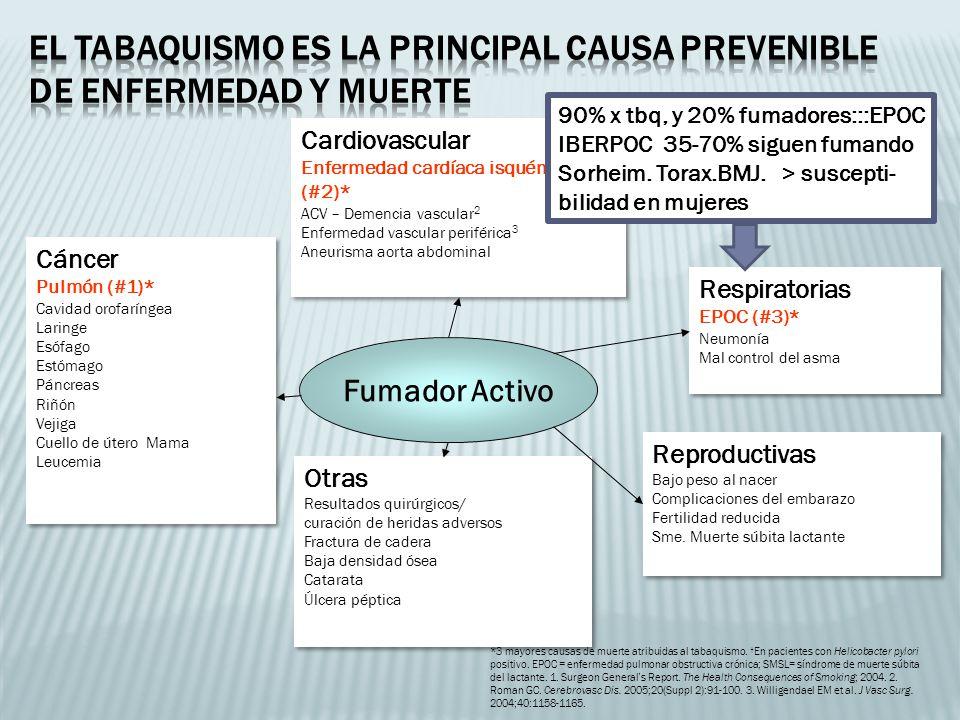*3 mayores causas de muerte atribuidas al tabaquismo. En pacientes con Helicobacter pylori positivo. EPOC = enfermedad pulmonar obstructiva crónica; S