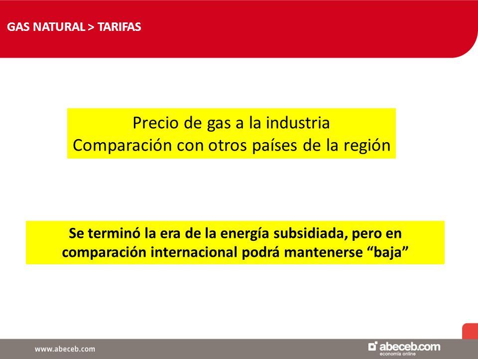 GAS NATURAL > TARIFAS - Precio de distribuidora para industria Por ahora no recibió aumento No hay garantías de que eso siga así - Precio de contratos directos Ejemplo PAE con Acindar Cómo se determina.