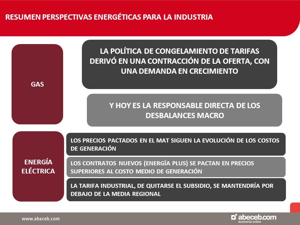 RESUMEN PERSPECTIVAS ENERGÉTICAS PARA LA INDUSTRIA ENERGÍA ELÉCTRICA LA POLÍTICA DE CONGELAMIENTO DE TARIFAS DERIVÓ EN UNA CONTRACCIÓN DE LA OFERTA, CON UNA DEMANDA EN CRECIMIENTO Y HOY ES LA RESPONSABLE DIRECTA DE LOS DESBALANCES MACRO GAS LOS PRECIOS PACTADOS EN EL MAT SIGUEN LA EVOLUCIÓN DE LOS COSTOS DE GENERACIÓN LOS CONTRATOS NUEVOS (ENERGÍA PLUS) SE PACTAN EN PRECIOS SUPERIORES AL COSTO MEDIO DE GENERACIÓN LA TARIFA INDUSTRIAL, DE QUITARSE EL SUBSIDIO, SE MANTENDRÍA POR DEBAJO DE LA MEDIA REGIONAL