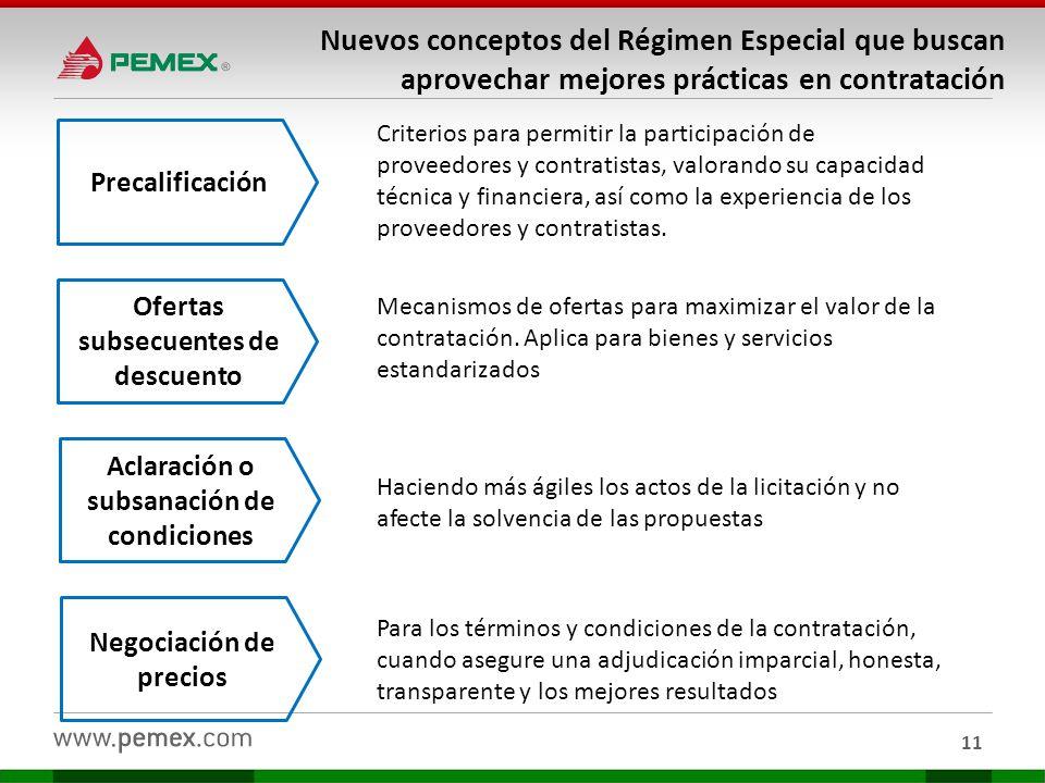11 Nuevos conceptos del Régimen Especial que buscan aprovechar mejores prácticas en contratación Precalificación Criterios para permitir la participac