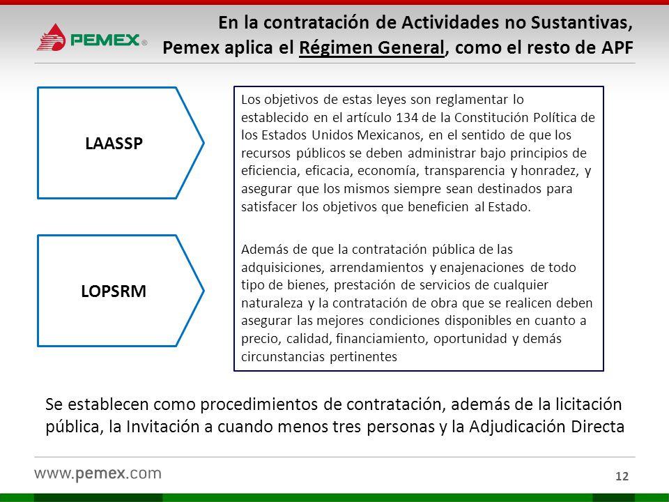 En la contratación de Actividades no Sustantivas, Pemex aplica el Régimen General, como el resto de APF 12 Se establecen como procedimientos de contra