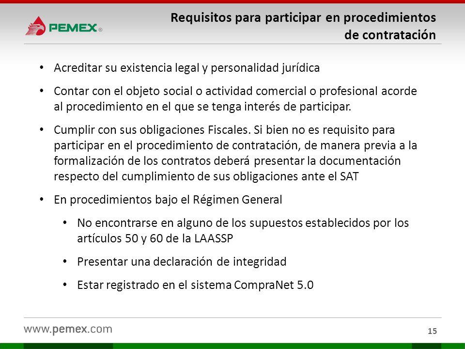 Requisitos para participar en procedimientos de contratación 15 Acreditar su existencia legal y personalidad jurídica Contar con el objeto social o ac