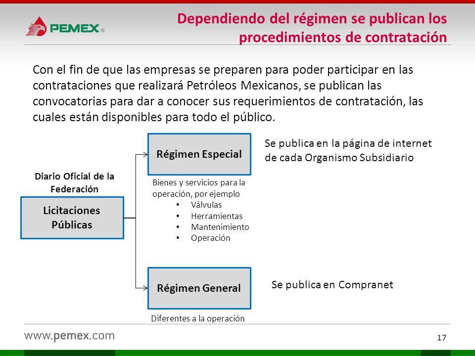17 Con el fin de que las empresas se preparen para poder participar en las contrataciones que realizará Petróleos Mexicanos, se publican las convocato