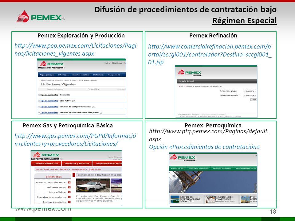 Difusión de procedimientos de contratación bajo Régimen Especial 18 http://www.comercialrefinacion.pemex.com/p ortal/sccgi001/controlador?Destino=sccg
