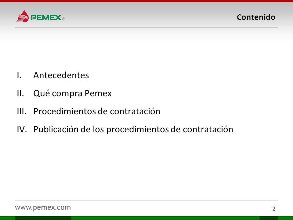 Contenido I.Antecedentes II.Qué compra Pemex III.Procedimientos de contratación IV.Publicación de los procedimientos de contratación 2