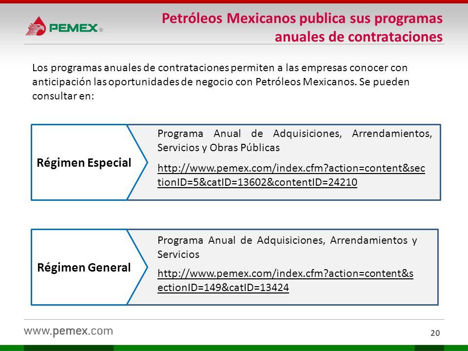 20 Petróleos Mexicanos publica sus programas anuales de contrataciones Los programas anuales de contrataciones permiten a las empresas conocer con ant