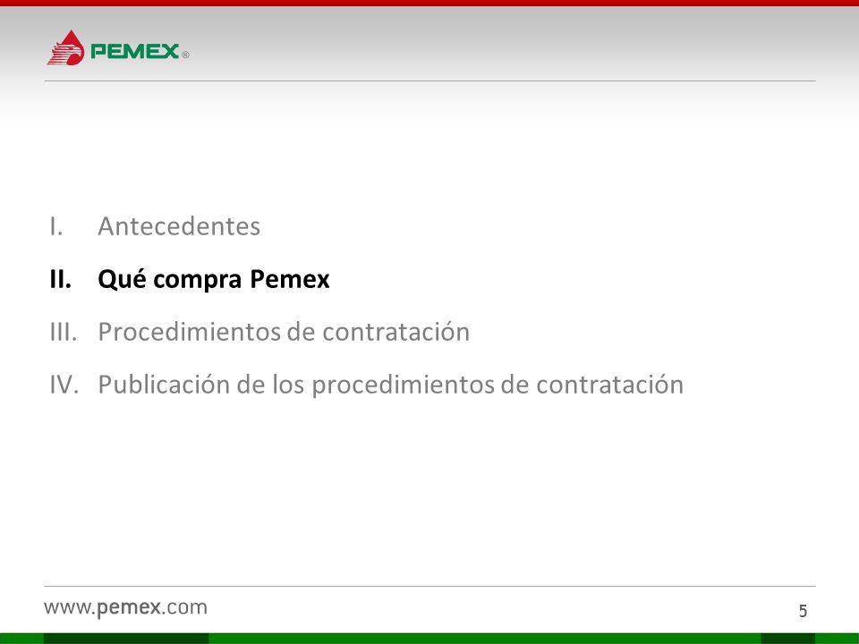 I.Antecedentes II.Qué compra Pemex III.Procedimientos de contratación IV.Publicación de los procedimientos de contratación 16