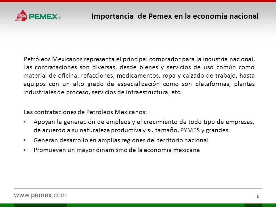 Petróleos Mexicanos representa el principal comprador para la industria nacional. Las contrataciones son diversas, desde bienes y servicios de uso com