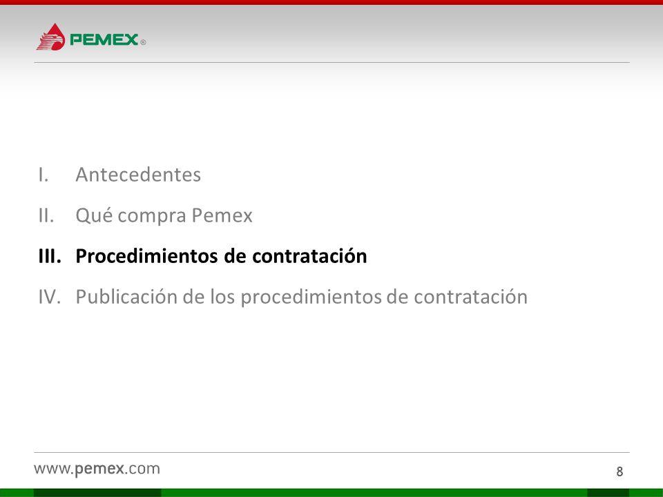 Difusión de procedimientos de contratación bajo Régimen General Petróleos Mexicanos difunde a través del sistema Compranet los trámites de contratación de licitación pública, la invitación a cuando menos tres personas y adjudicación directa.