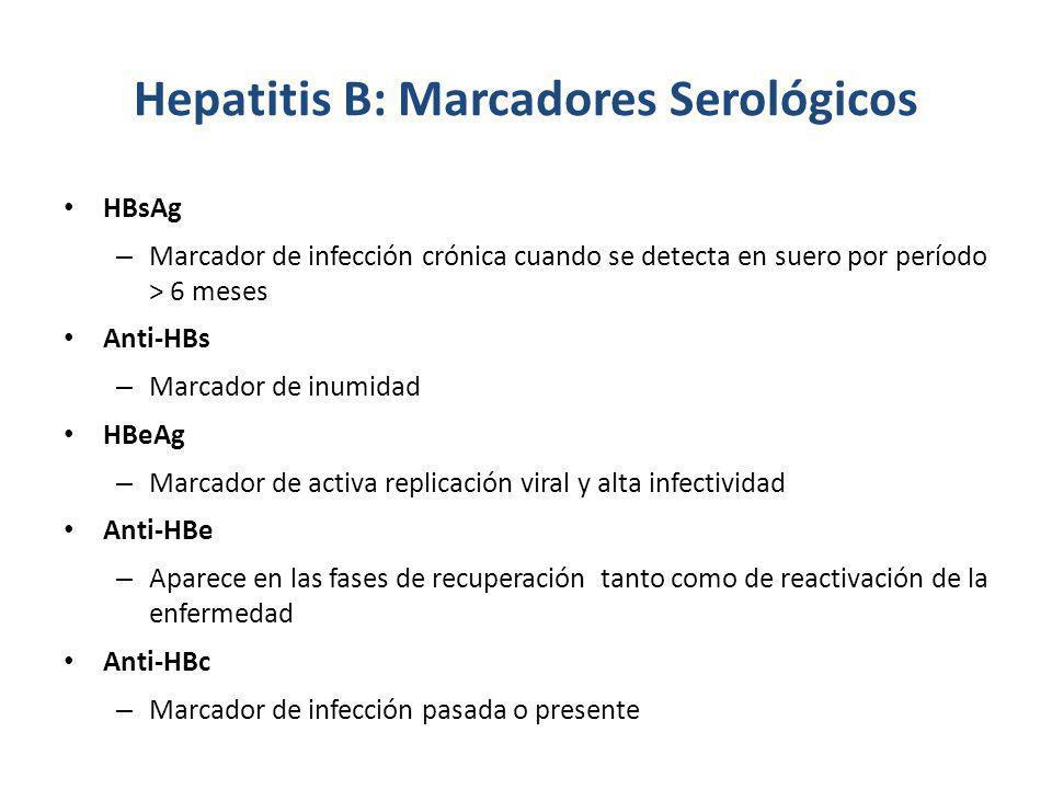Hepatitis B: Marcadores Serológicos HBsAg – Marcador de infección crónica cuando se detecta en suero por período > 6 meses Anti-HBs – Marcador de inum