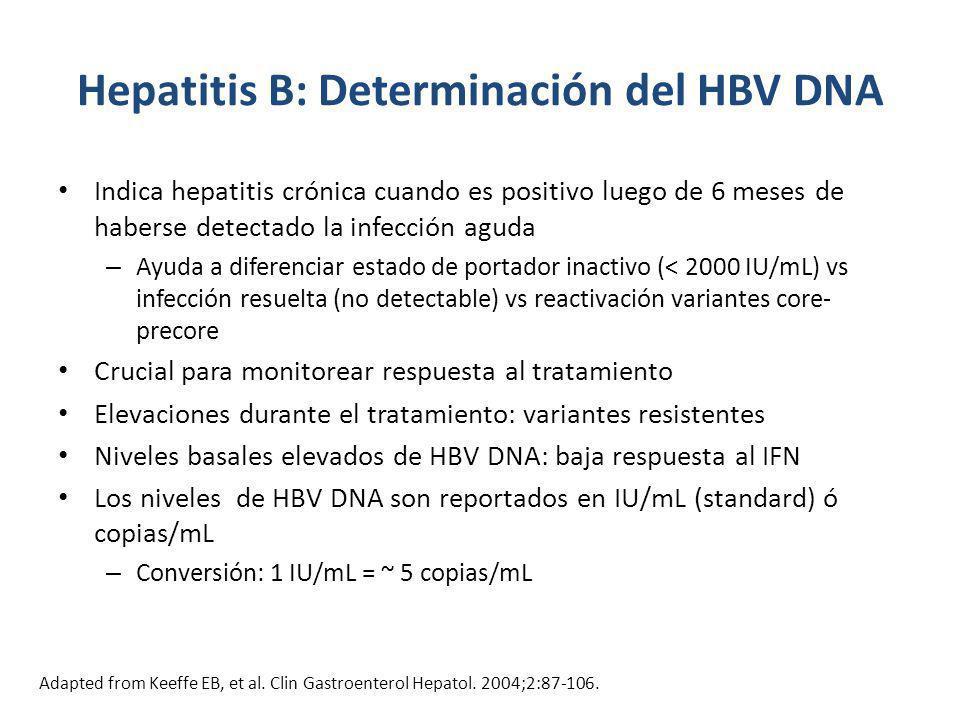 Hepatitis B: Determinación del HBV DNA Indica hepatitis crónica cuando es positivo luego de 6 meses de haberse detectado la infección aguda – Ayuda a