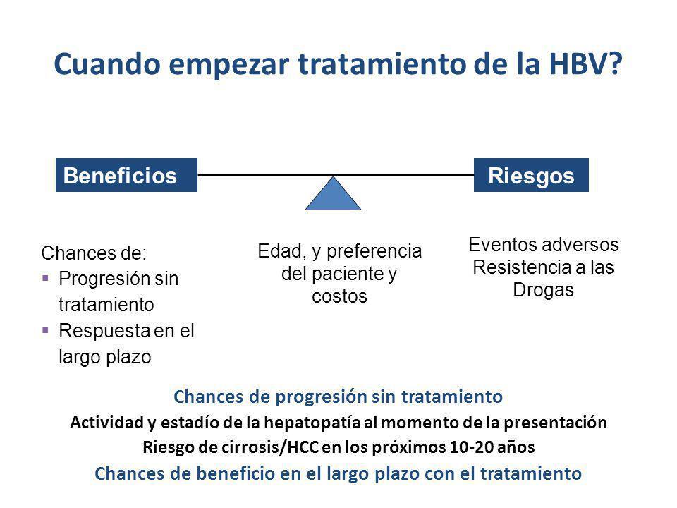 Cuando empezar tratamiento de la HBV? BeneficiosRiesgos Edad, y preferencia del paciente y costos Chances de: Progresión sin tratamiento Respuesta en