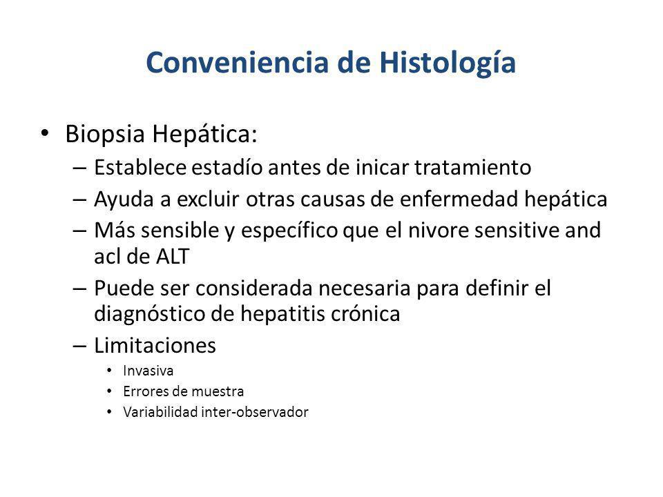 Conveniencia de Histología Biopsia Hepática: – Establece estadío antes de inicar tratamiento – Ayuda a excluir otras causas de enfermedad hepática – M