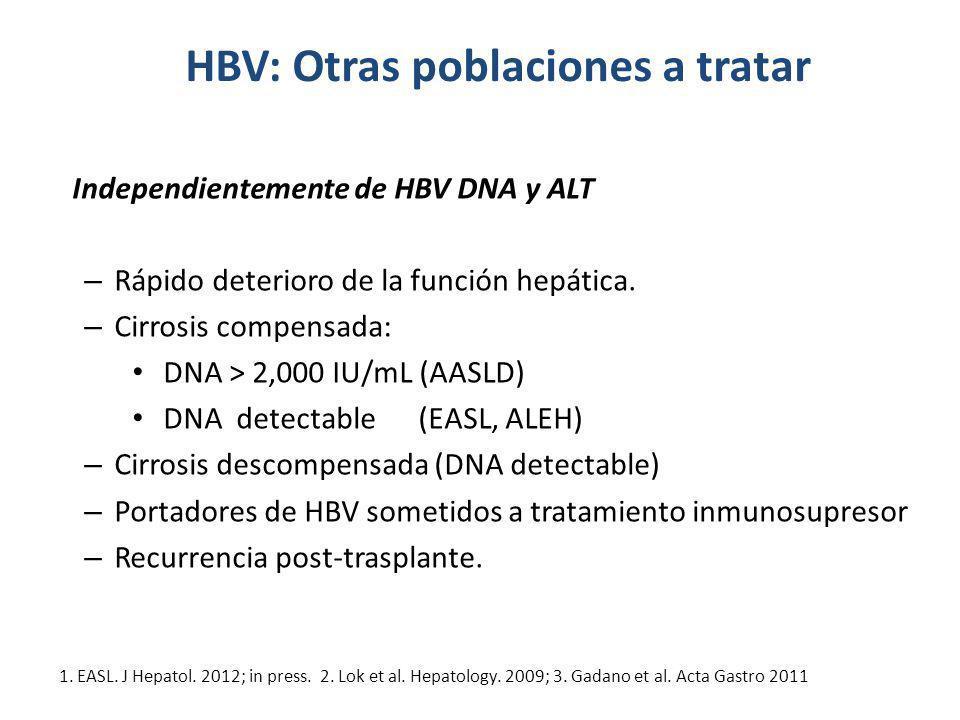 HBV: Otras poblaciones a tratar Independientemente de HBV DNA y ALT – Rápido deterioro de la función hepática. – Cirrosis compensada: DNA > 2,000 IU/m
