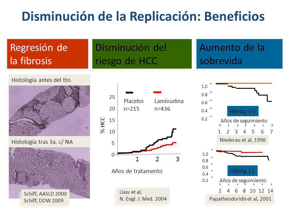 Disminución de la Replicación: Beneficios Histología antes del tto. Histología tras 3a. c/ NA Regresión de la fibrosis Schiff, AASLD 2000 Schiff, DDW