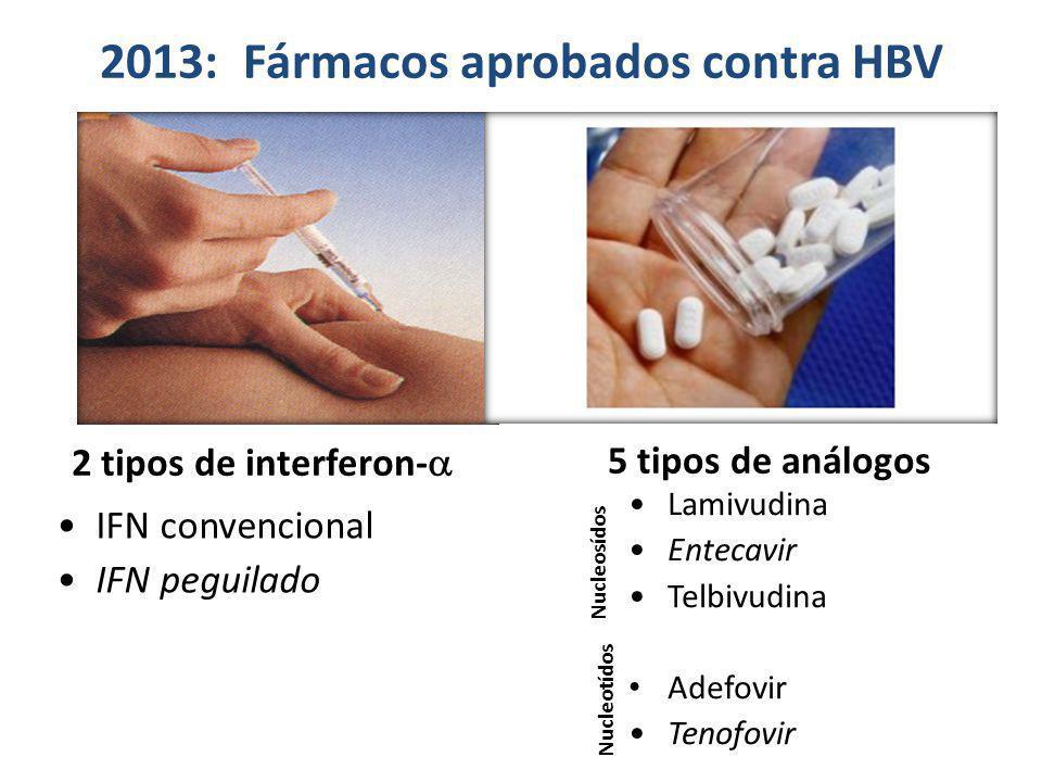 IFN convencional IFN peguilado Lamivudina Entecavir Telbivudina Adefovir Tenofovir 2013: Fármacos aprobados contra HBV 2 tipos de interferon- 5 tipos