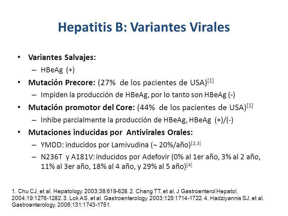 Hepatitis B: Variantes Virales Variantes Salvajes: – HBeAg (+) Mutación Precore: (27% de los pacientes de USA) [1] – Impiden la producción de HBeAg, p