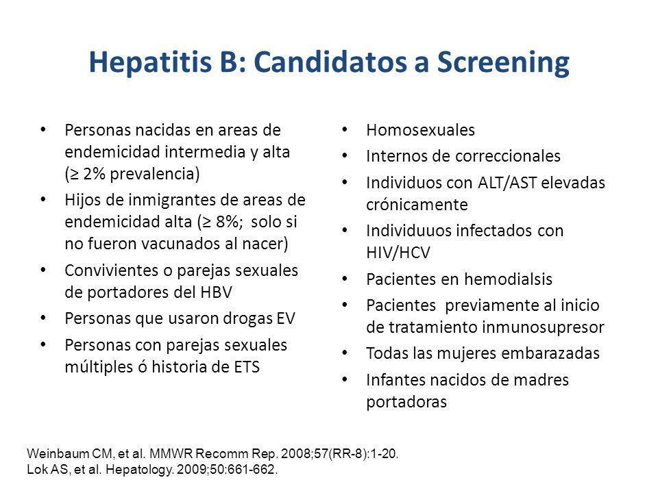 Hepatitis B: Candidatos a Screening Personas nacidas en areas de endemicidad intermedia y alta ( 2% prevalencia) Hijos de inmigrantes de areas de ende