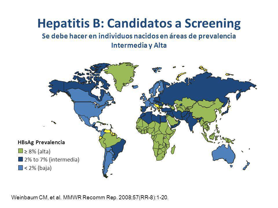 Weinbaum CM, et al. MMWR Recomm Rep. 2008;57(RR-8):1-20. Hepatitis B: Candidatos a Screening Se debe hacer en individuos nacidos en áreas de prevalenc