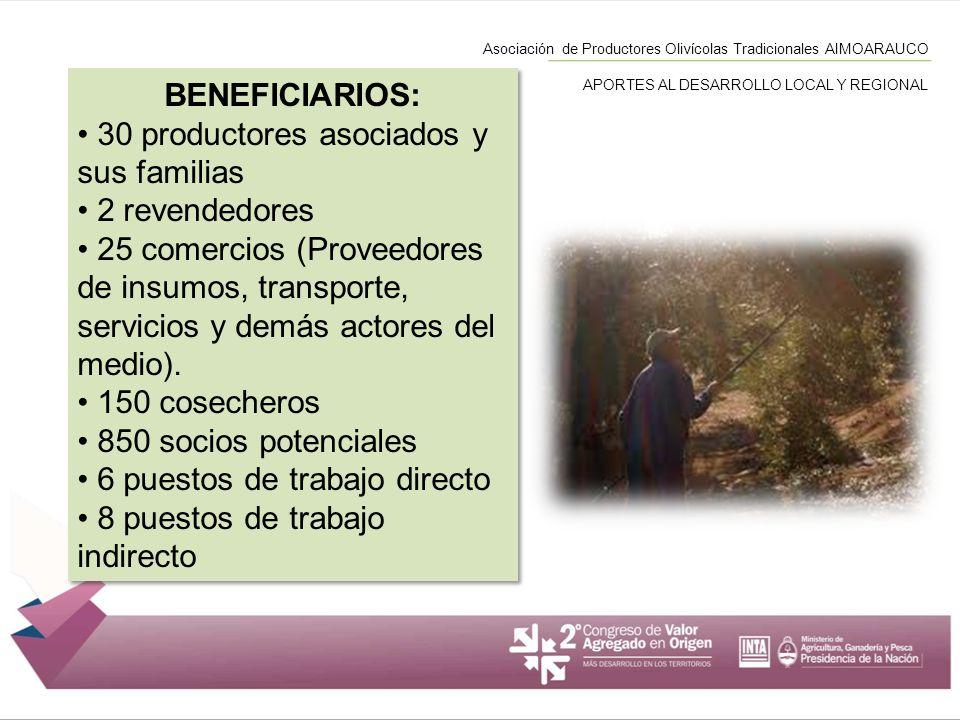Asociación de Productores Olivícolas Tradicionales AIMOARAUCO APORTES AL DESARROLLO LOCAL Y REGIONAL BENEFICIARIOS: 30 productores asociados y sus fam