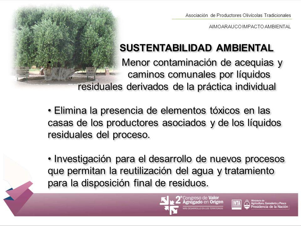 SUSTENTABILIDAD AMBIENTAL Menor contaminación de acequias y caminos comunales por líquidos residuales derivados de la práctica individual Elimina la p