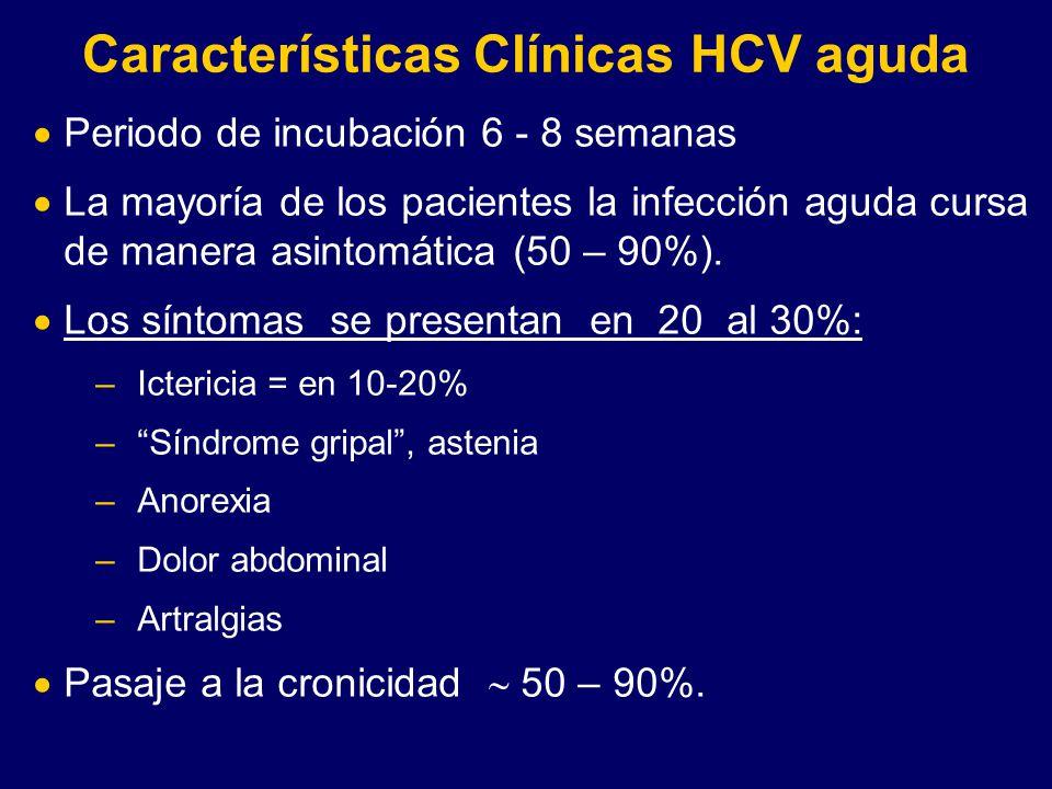 Características Clínicas HCV aguda Periodo de incubación 6 - 8 semanas La mayoría de los pacientes la infección aguda cursa de manera asintomática (50
