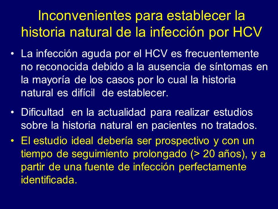 Inconvenientes para establecer la historia natural de la infección por HCV La infección aguda por el HCV es frecuentemente no reconocida debido a la a