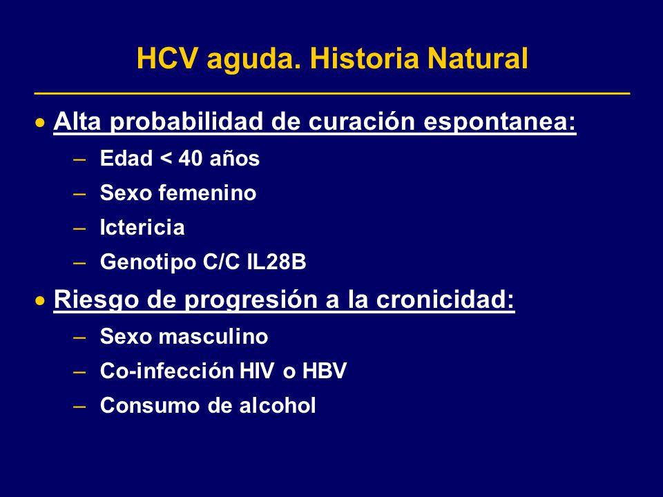 HCV aguda. Historia Natural Alta probabilidad de curación espontanea: –Edad < 40 años –Sexo femenino –Ictericia –Genotipo C/C IL28B Riesgo de progresi