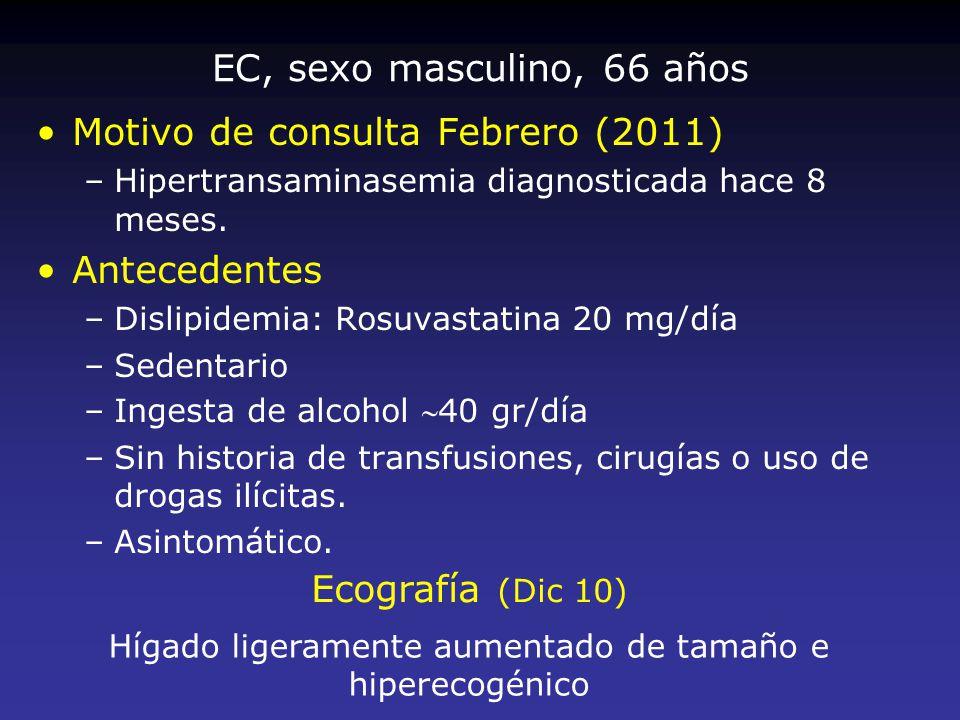 EC, sexo masculino, 66 años Motivo de consulta Febrero (2011) –Hipertransaminasemia diagnosticada hace 8 meses. Antecedentes –Dislipidemia: Rosuvastat