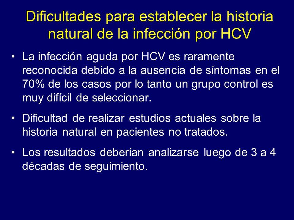 Dificultades para establecer la historia natural de la infección por HCV La infección aguda por HCV es raramente reconocida debido a la ausencia de sí